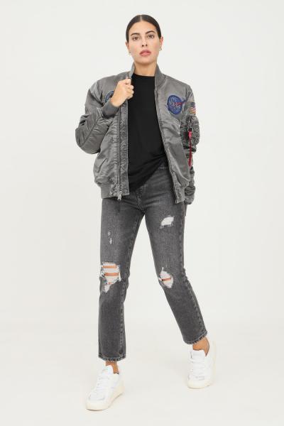 Jeans donna nero con tagli frontali  Jeans | 15229745BLACK
