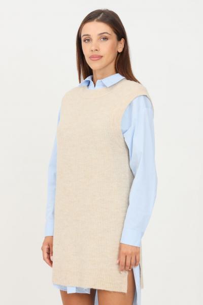 ONLY Gilet in maglia da donna beige only taglio midi  Gilet   15235961PUMICESTONE