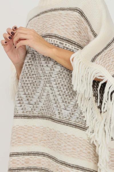 ONLY Gilet in maglia donna panna only a collo alto e frange sul fondo  Gilet   15236379PUMICESTONE