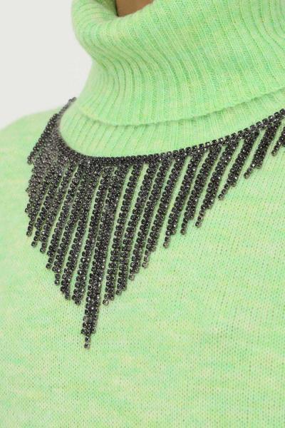 PATRIZIA PEPE Maglioncino donna verde patrizia pepe a collo alto con applicazione strass sul davanti  T-shirt   2M4167/A9U1G518