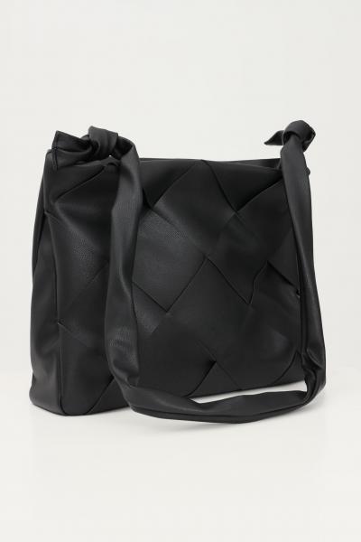 Borsa da donna nero modello shopper con trama frontale  Borse | 17116122BLACK/COGNAC