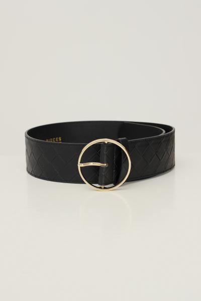 PIECES Cintura donna nero pieces con trama geometrica  Cinture | 17117058.BLACK