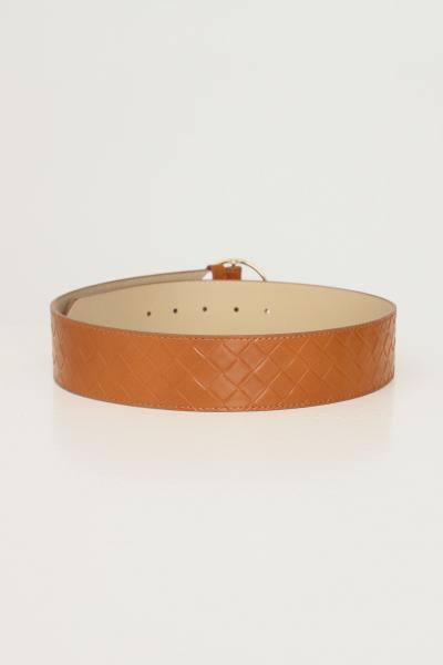 PIECES Cintura donna cuoio pieces con trama geometrica  Cinture | 17117058.COGNAC