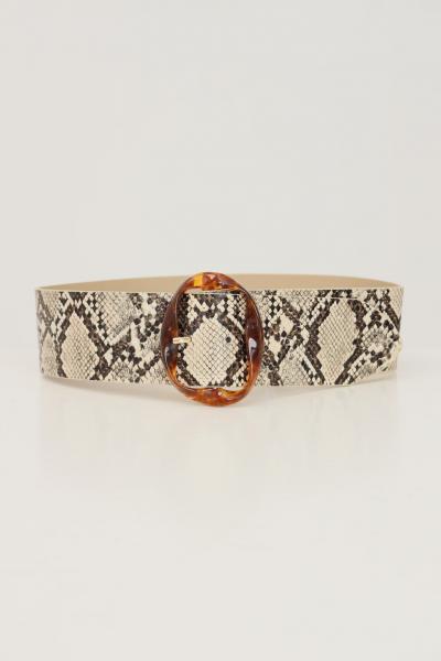 Cintura donna pitonato con maxi fibbia  Cinture | 17117061BEIGE-SNAKE