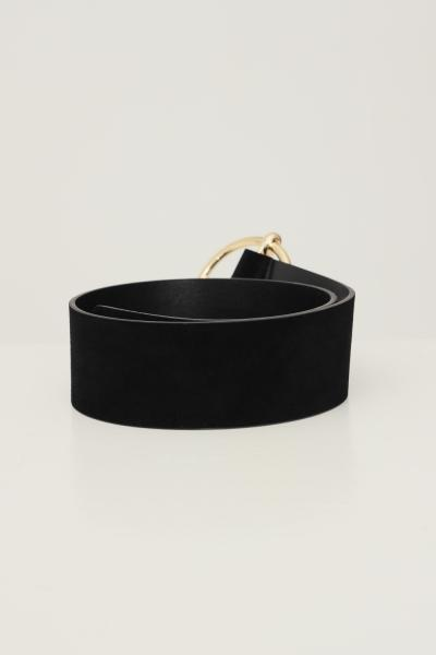 PIECES Cintura donna nero pieces effetto camoscio  Cinture | 17117062.BLACK