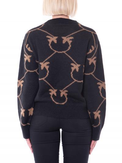 PINKO Maglioncino donna nero pinko con ricami a contrasto  T-shirt | 1G16C3-Y7GYZC0