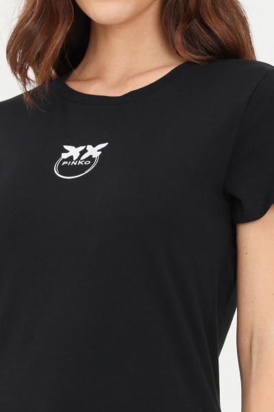 PINKO T-shirt donna nero pinko a manica corta con ricamo frontale a contrasto  T-shirt | 1G16J6-Y651Z99