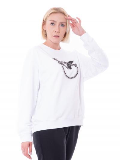 PINKO Felpa donna bianco pinko a girocollo con applicazione strass frontale  Felpe | 1G16J9-Y722ZZ1