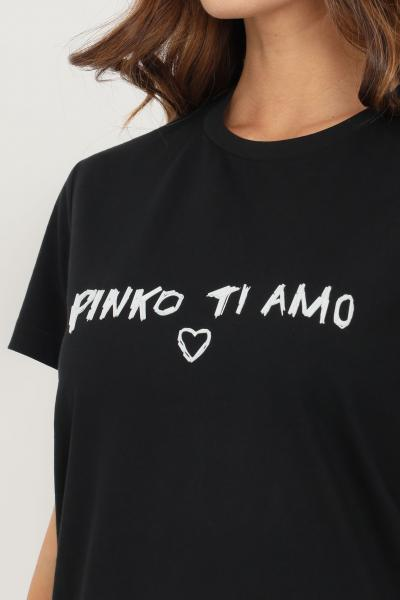 PINKO T-shirt donna nero pinko a manica corta con applicazioni sul fronte  T-shirt | 1G16JD-Y4LXZZ2