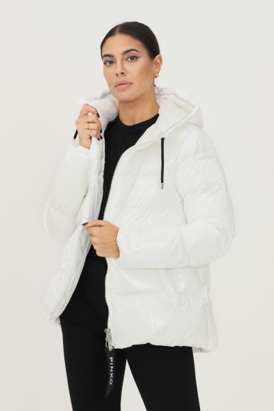 PINKO Piumino bianco in crystal nylon con cappuccio da donna firmato pinko  Giubbotti | 1G16NF-Y767Z14
