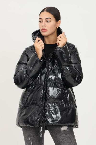 PINKO Piumino nero in crystal nylon con cappuccio da donna firmato pinko  Giubbotti | 1G16NF-Y767Z99