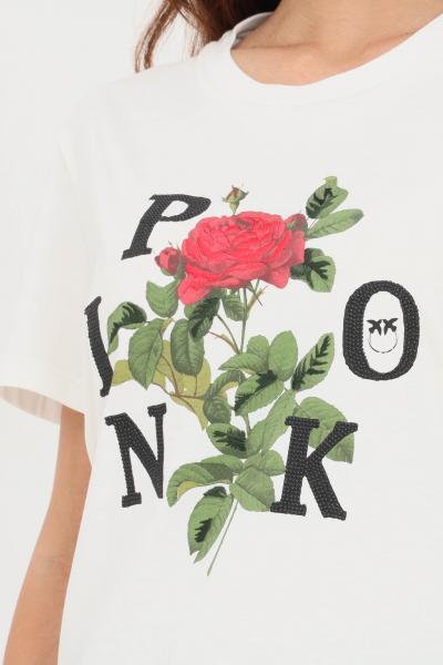 PINKO T-shirt donna bianco pinko a manica corta con stampa logo rosa  T-shirt | 1G16UK-Y74WZ14