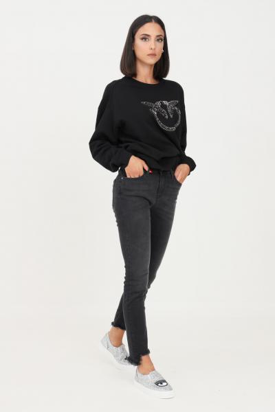 Jeans donna nero con paillettes sul retro  Jeans | 1J10NW-Y78PZ99
