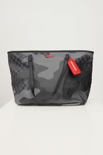 SPRAYGROUND Shopper donna fantasia grigio sprayground con manici e applicazione portachiavi con specchietto  Borse | 910T3854NSZ.