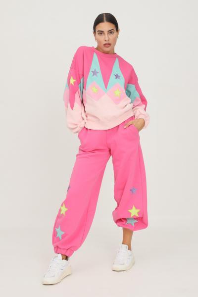 TEEN IDOL Pantaloni donna rosa fluo teen idol casual con ricamo stelle  Pantaloni | 029785200