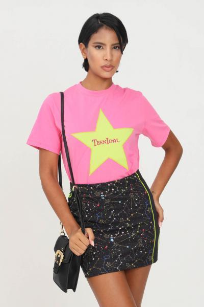 TEEN IDOL T-shirt donna fucsia teen idol a manica corta con ricamo stella e logo frontale  T-shirt | 029797044