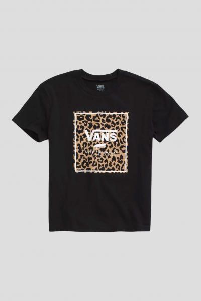 VANS T-shirt bambina nero vans con stampa leopard.  T-shirt | VN0A5I9JBLK1BLK1