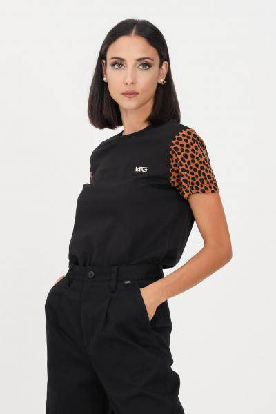 VANS T-shirt donna nero vans a manica corta con logo ricamato  T-shirt | VN0A5L65Z45Z45