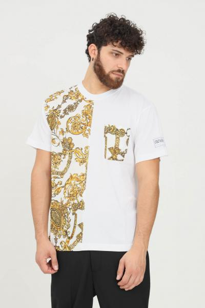 VERSACE JEANS COUTURE T-shirt uomo bianco versace jeans couture a manica corta con taschino frontale  T-shirt   71GAH610NS007G03(003+948)