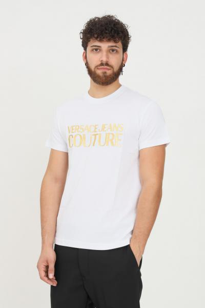 VERSACE JEANS COUTURE T-shirt uomo bianco versace jeans couture a manica corta con stampa logo oro  T-shirt   71GAHT04CJ00TG03(003+948)