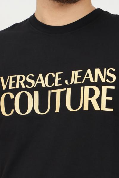 VERSACE JEANS COUTURE T-shirt uomo nero versace jeans couture a manica corta con stampa logo oro  T-shirt   71GAHT04CJ00TG89(899+948)