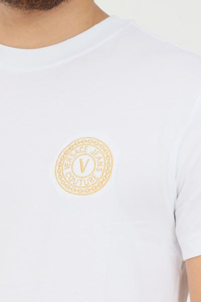 VERSACE JEANS COUTURE T-shirt bianco uomo versace jeans couture con logo ricamato sul fronte  T-shirt   71GAHT10CJ00TG03(003+948)