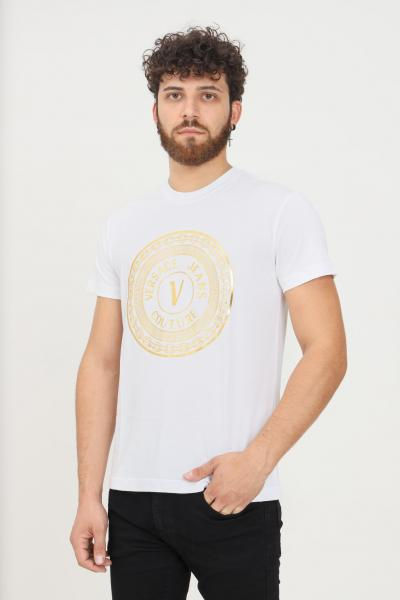 VERSACE JEANS COUTURE T-shirt bianco uomo versace jeans couture con stampa oro  T-shirt   71GAHT12CJ00TG03(003+948)