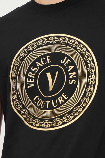 VERSACE JEANS COUTURE T-shirt uomo nero versace jeans couture con stampa oro  T-shirt   71GAHT12CJ00TG89(899+948)