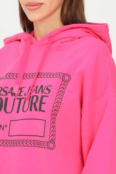 VERSACE JEANS COUTURE Felpa donna fucsia versace jeans couture con cappuccio e logo frontale  Felpe   71GAIT04CF00T455