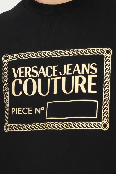VERSACE JEANS COUTURE Felpa uomo nero versace jeans couture modello girocollo con maxi stampa oro  Felpe   71GAIT15CF00TG89(899+948)