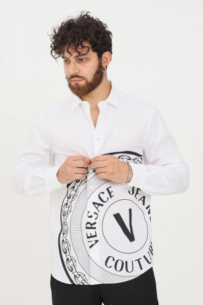 VERSACE JEANS COUTURE Camicia uomo bianco versace jeans couture modello casual con stampa logo a contrasto  Camicie | 71GAL2R4CN002003