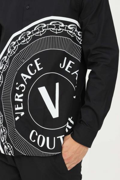 VERSACE JEANS COUTURE Camicia uomo nero versace jeans couture modello casual con stampa logo a contrasto  Camicie | 71GAL2R4CN002899