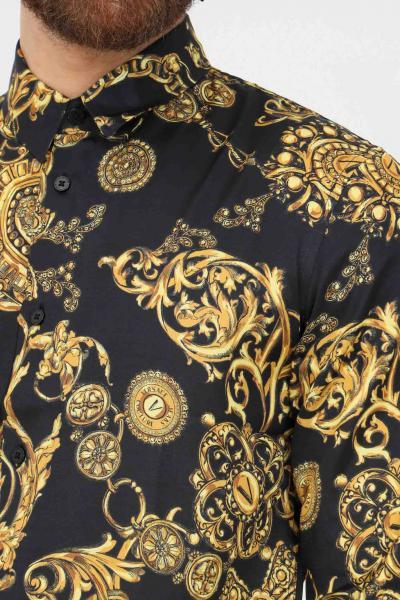 VERSACE JEANS COUTURE Camicia nero uomo versace jeans couture con stampa baroque  Camicie   71GAL2S0NS007G89(899+948)