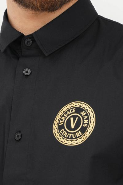 VERSACE JEANS COUTURE Camicia uomo nero versace jeans couture elegante con stampa logo  Camicie   71GAL2S1CN001899