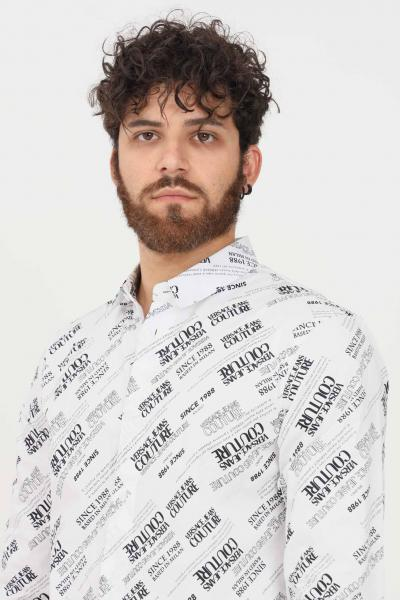 VERSACE JEANS COUTURE Camicia uomo bianco versace jeans couture casual con stampa logo allover  Camicie   71GAL2S2NS004003