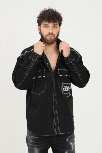 VERSACE JEANS COUTURE Camicia nero uomo versace jeans couture con trama impunturata  Camicie   71GAL51PEW002TC2899