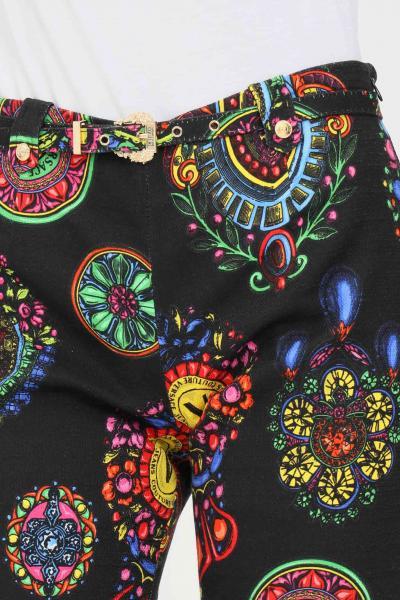 VERSACE JEANS COUTURE Pantaloni nero donna versace jeans couture a zampa stampato  Pantaloni | 71HAA111NS008899
