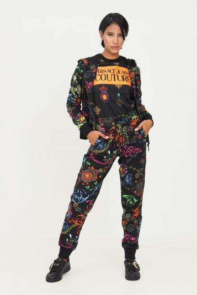 VERSACE JEANS COUTURE Pantaloni nero donna versace jeans couture con stampa allover  Pantaloni | 71HAA310FS002899