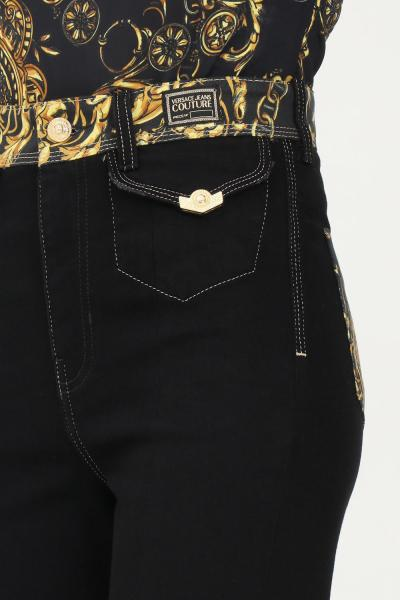 VERSACE JEANS COUTURE Pantaloni donna nero versace jeans couture con fondo ampio  Pantaloni | 71HAB2IMDW011ITN909