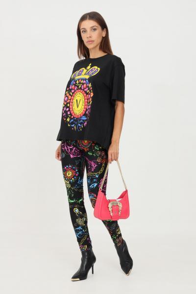 VERSACE JEANS COUTURE Leggings nero versace jeans couture con stampa barocca allover  Leggings | 71HAC101JS008899