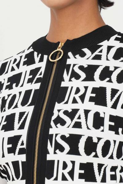 VERSACE JEANS COUTURE Cardigan bianco nero donna versace jeans couture con zip sul fronte  Cardigan | 71HAF827CM03NL01(899+003)