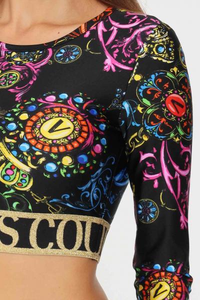 VERSACE JEANS COUTURE Top donna nero versace jeans couture modello casual con banda elastica logata  Top   71HAH218JS008899