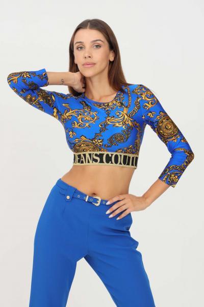 VERSACE JEANS COUTURE Top donna cobalto versace jeans couture modello casual con banda elastica logata  Top   71HAH218JS008G24(243+948)