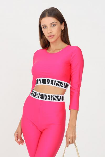 VERSACE JEANS COUTURE Top donna rosa fluo versace jeans couture modello casual crop  Top   71HAH218N0008413