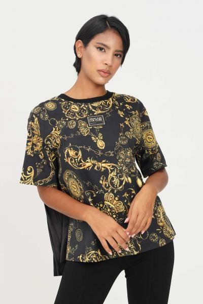 VERSACE JEANS COUTURE T-shirt donna nero versace jeans couture a manica corta con plisset sul retro  T-shirt | 71HAH611JS015G89(899+948)
