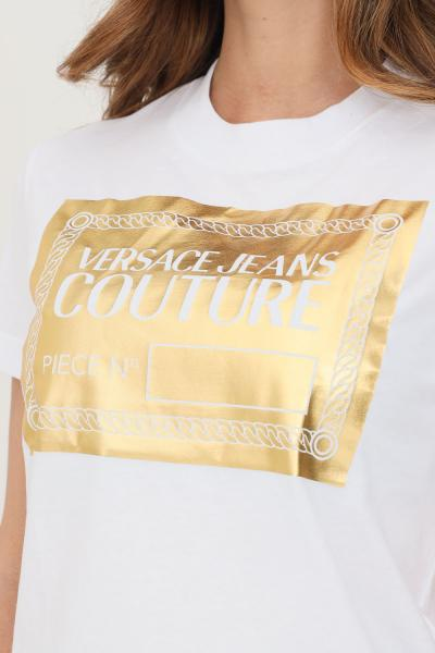 VERSACE JEANS COUTURE T-shirt donna bianco oro versace jeans couture a manica corta  T-shirt | 71HAHT14CJ00TG03(003+948)