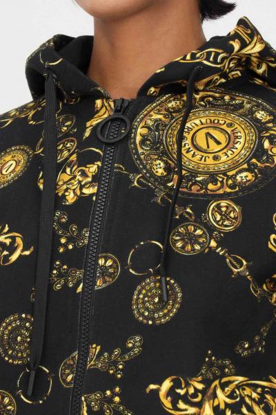 VERSACE JEANS COUTURE Felpa nero donna versace jeans couture con zip e cappuccio  Felpe | 71HAI306FS002G89(899+948)
