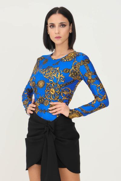 VERSACE JEANS COUTURE Body blu oro versace jeans couture con stampa allover elegante  Body | 71HAM221JS008G24(243+948)