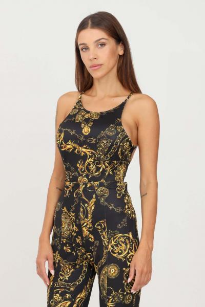 VERSACE JEANS COUTURE Tuta donna nero oro versace jeans couture elegante con stampa allover  Tute | 71HAN001JS009G89(899+948)