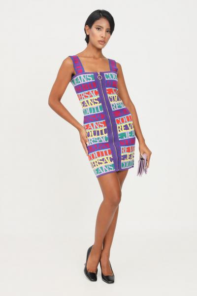 VERSACE JEANS COUTURE Abito donna multicolor versace jeans couture con logo lettering allover  Abiti | 71HAO824CM04N983